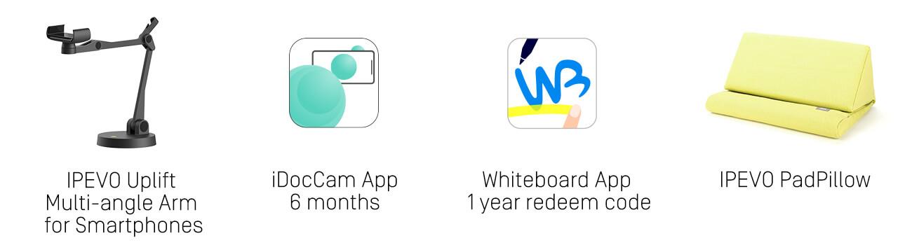 IPEVO Uplift Multi-angle Arm for Smartphones, 6 months iDocCam App, Whiteboard App 1 year redeem code and IPEVO PadPillow